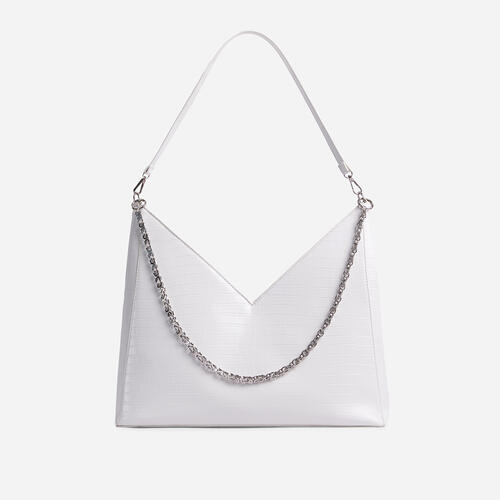 Paloma Chain Detail Oversized Bag In White Croc Print Faux Leather