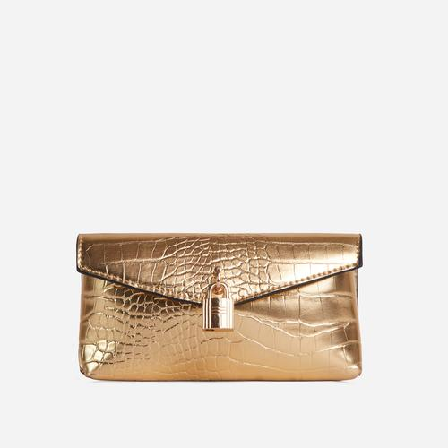 Harper Padlock Detail Cross Body Belt Bag In Metallic Gold Croc Print Faux Leather
