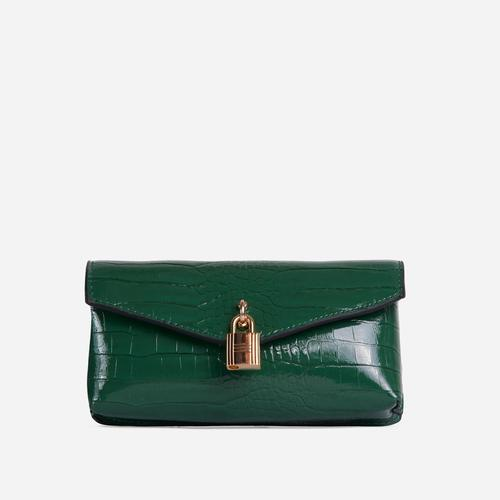 Harper Padlock Detail Cross Body Belt Bag In Green Croc Print Faux Leather