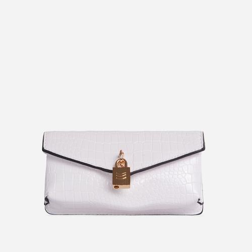 Harper Padlock Detail Cross Body Belt Bag In Cream Croc Print Faux Leather