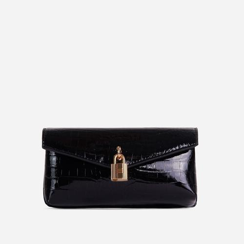Harper Padlock Detail Cross Body Belt Bag In Black Croc Print Faux Leather