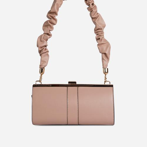 Debra Ruched Handle Boxy Shoulder Bag In Nude Faux Leather