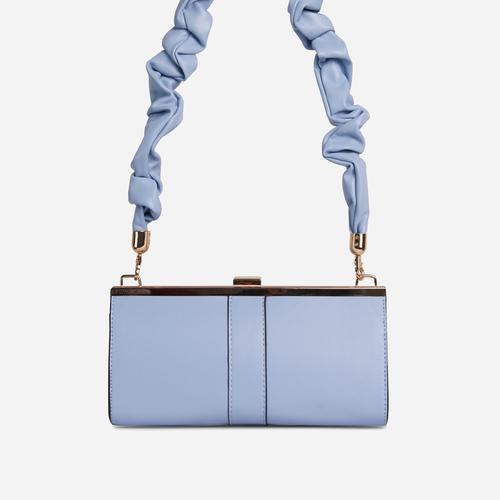 Debra Ruched Handle Boxy Shoulder Bag In Blue Faux Leather