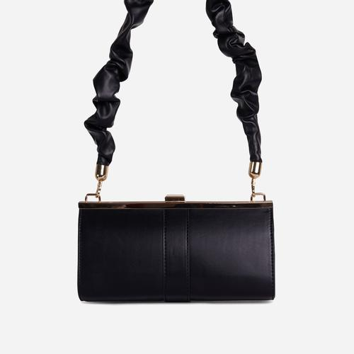 Debra Ruched Handle Boxy Shoulder Bag In Black Faux Leather