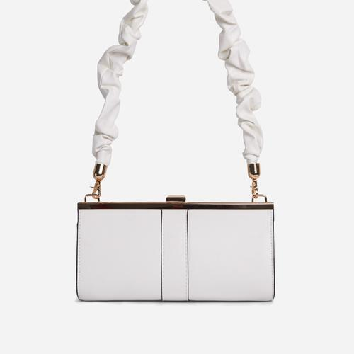 Debra Ruched Handle Boxy Shoulder Bag In White Faux Leather