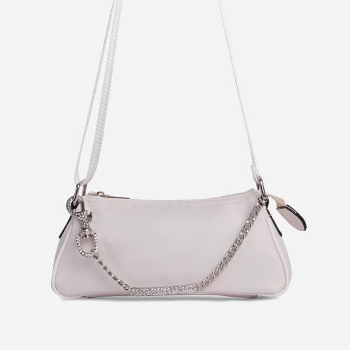 Ella Diamante Bar Detail Shoulder Bag In Nude Nylon