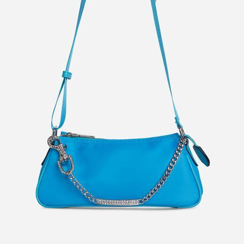 Ella Diamante Bar Detail Shoulder Bag In Blue Nylon
