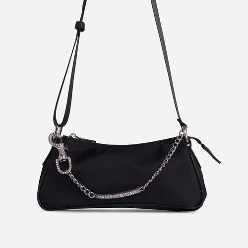 Ella Diamante Bar Detail Shoulder Bag In Black Nylon