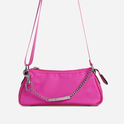 Ella Diamante Bar Detail Shoulder Bag In Fuchsia Pink Nylon