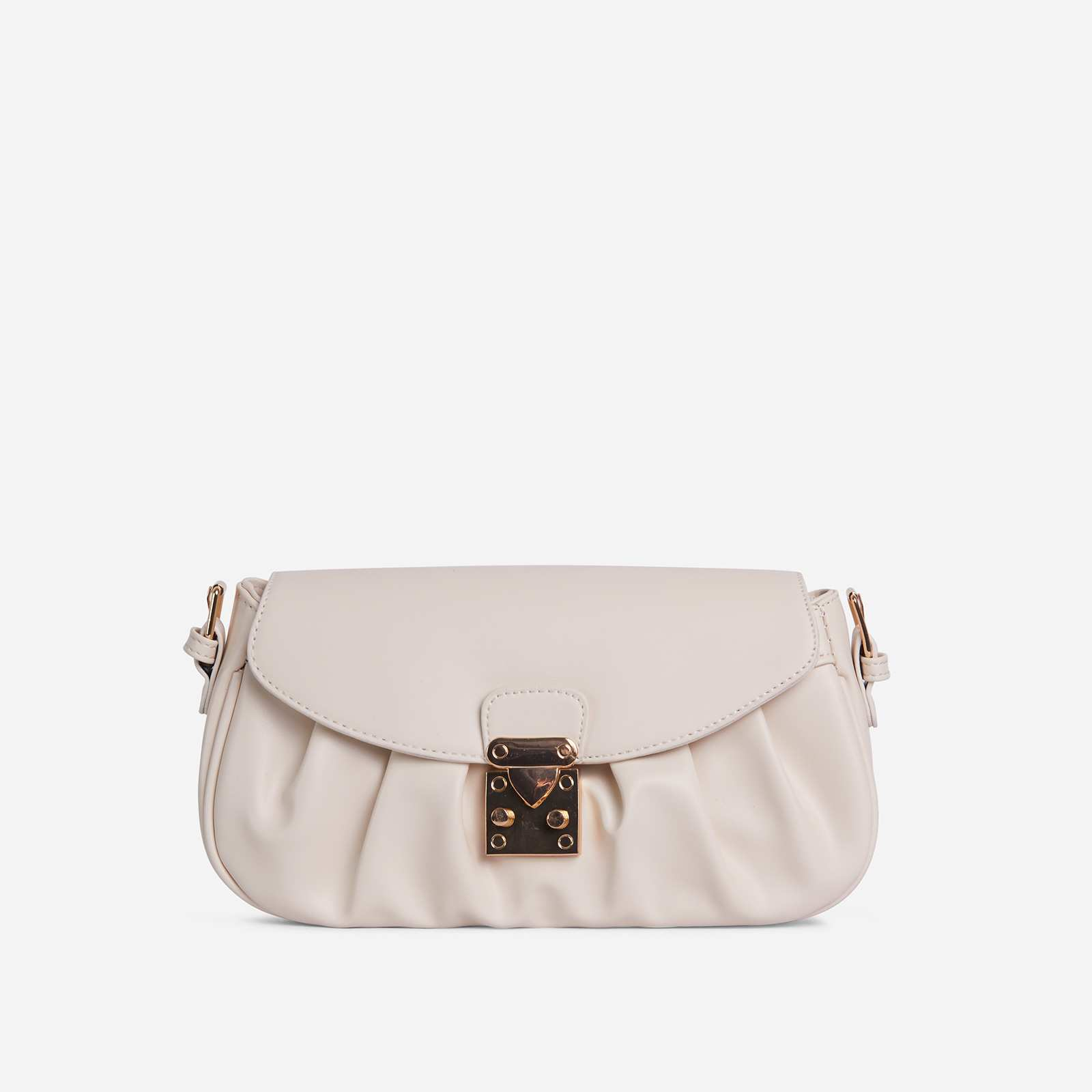 Sunset Buckle Detail Ruched Shoulder Bag In Nude Faux Leather