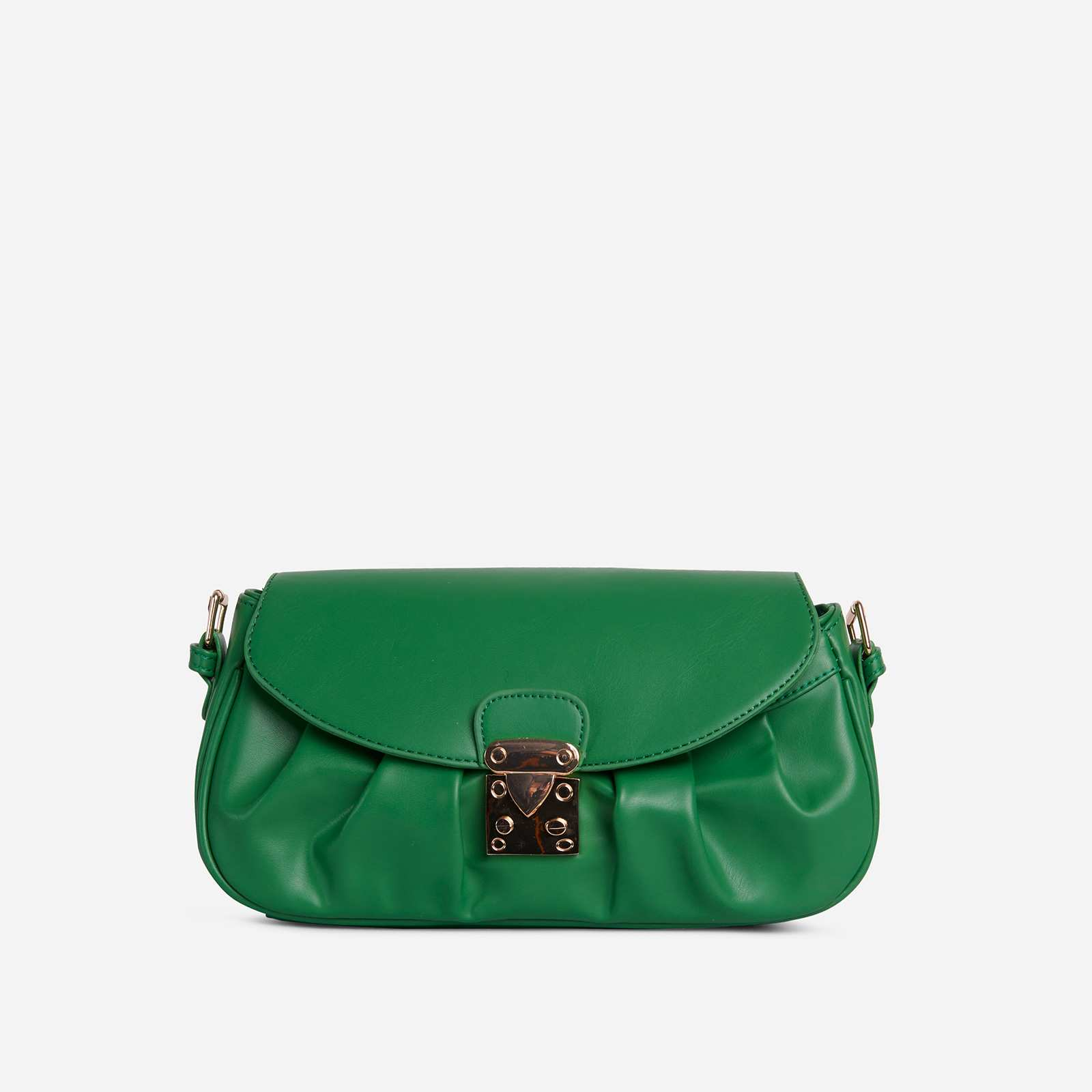 Sunset Buckle Detail Ruched Shoulder Bag In Green Faux Leather