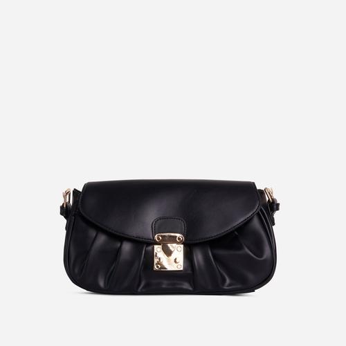 Sunset Buckle Detail Ruched Shoulder Bag In Black Faux Leather