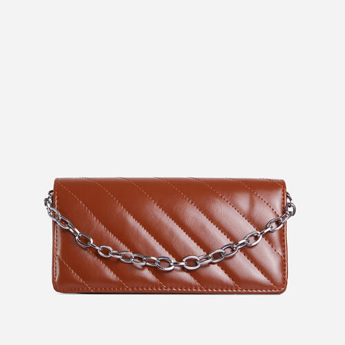 Sola Chain Detail Quilted Cross Body Bag In Tan Brown Faux Leather