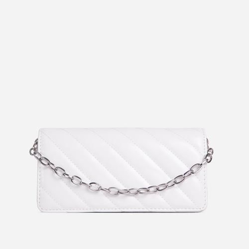 Sola Chain Detail Quilted Cross Body Bag In White Faux Leather