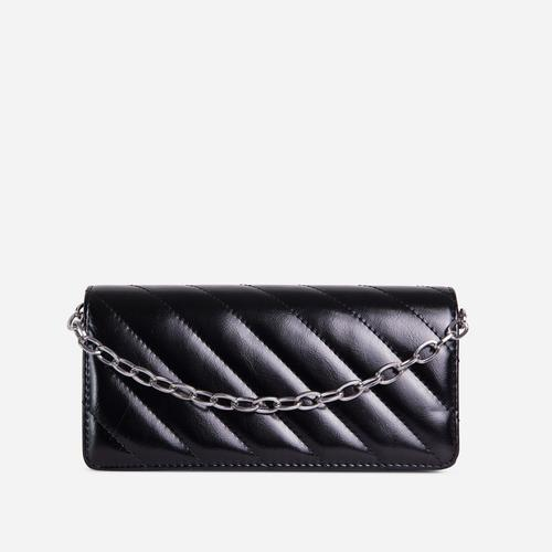Sola Chain Detail Quilted Cross Body Bag In Black Faux Leather