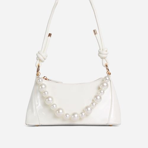 Valley Pearl Detail Knotted Strap Shoulder Bag In Cream Patent