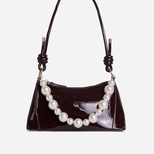 Valley Pearl Detail Knotted Strap Shoulder Bag In Brown Patent