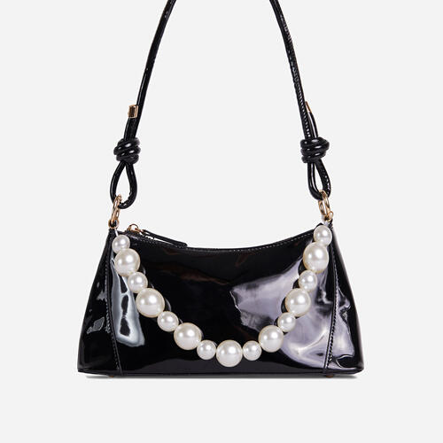 Valley Pearl Detail Knotted Strap Shoulder Bag In Black Patent
