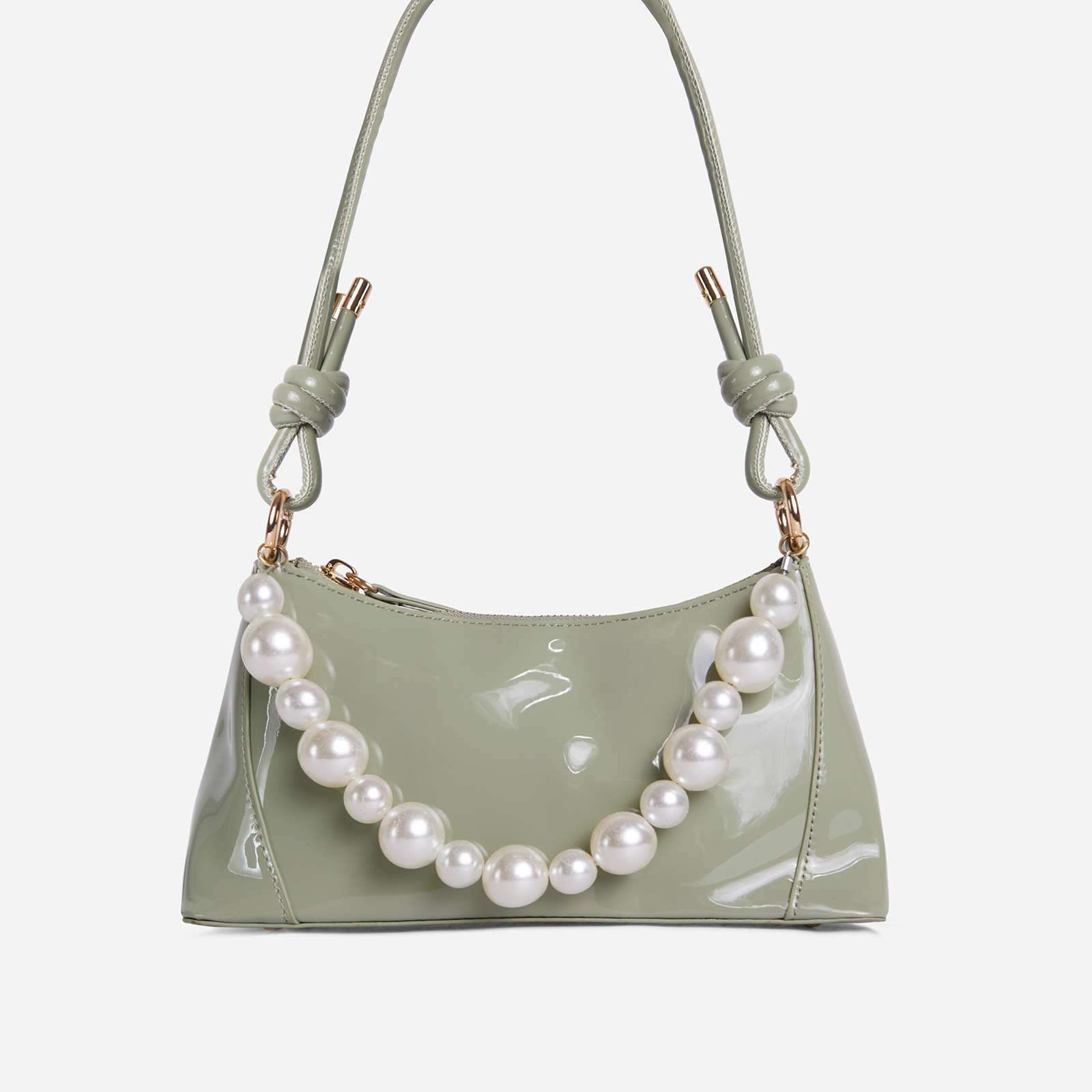 Valley Pearl Detail Knotted Strap Shoulder Bag In Green Patent