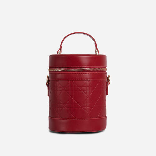 Honor Top Handle Vanity Cross Body Bag In Red Faux Leather