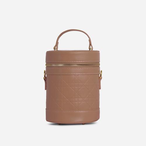 Honor Top Handle Vanity Cross Body Bag In Nude Faux Leather