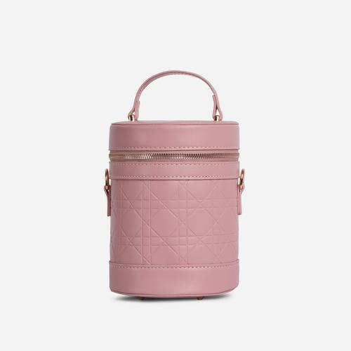Honor Top Handle Vanity Cross Body Bag In Pink Faux Leather
