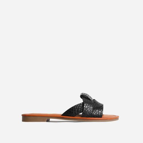 Billie Wide Fit Flat Sandal In Black Croc Print Faux Leather
