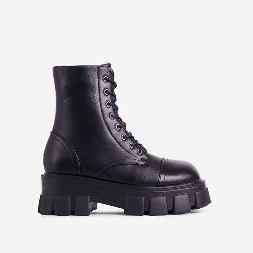 Fighter Lace Up Chunky Sole Ankle Biker Boot In Black Faux Leather