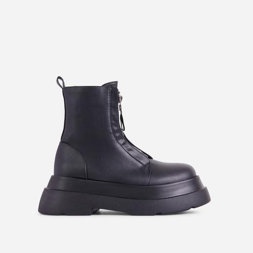 Stomper Zip Detail Chunky Sole Ankle Biker Boot In Black Faux Leather
