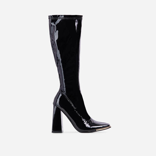Angelique Metallic Trim Detail Flared Block Heel Over The Knee Thigh High Long Boot In Black Patent