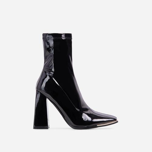 Lara Metallic Trim Detail Flared Block Heel Ankle Sock Boot In Black Patent