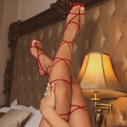 Katch Square Toe Over The Knee Lace Up Perspex Clear Heel In Red Faux Leather