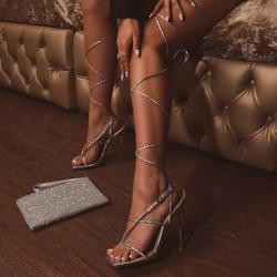Katch Square Toe Over The Knee Lace Up Perspex Clear Heel In Silver Holographic Faux Leather