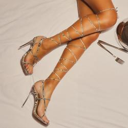 Katch Square Toe Over The Knee Lace Up Perspex Clear Heel In Nude Snake Print Faux Leather