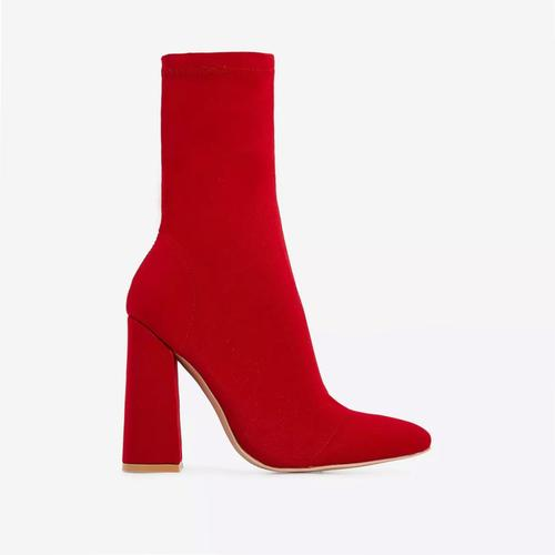 Chesta Block Heel Ankle Boot In Red Lycra