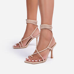Baking Lace Up Square Toe Kitten Heel In Nude Faux Leather