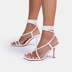 Baking Lace Up Square Toe Kitten Heel In White Faux Leather