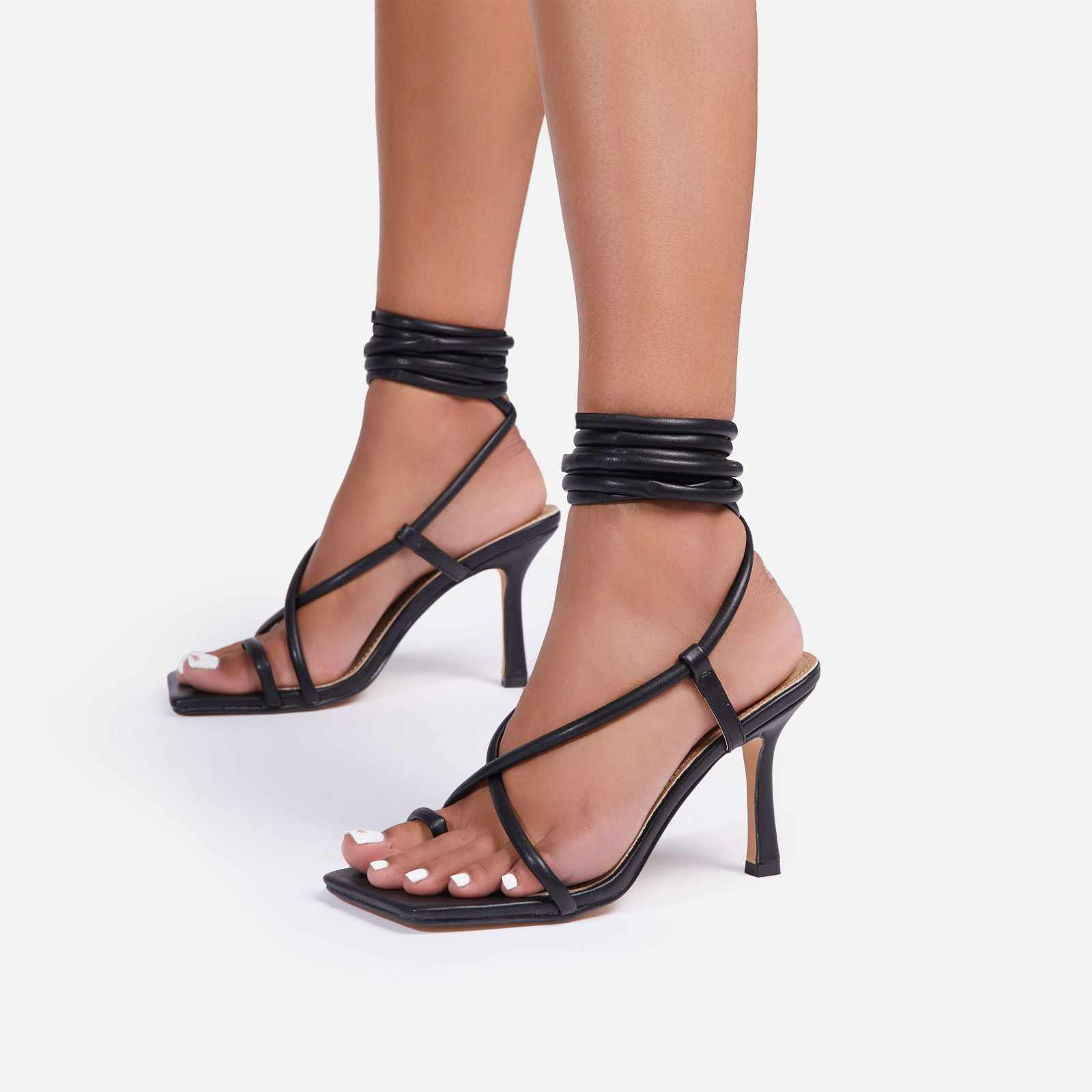 Baking Lace Up Square Toe Kitten Heel In Black Faux Leather
