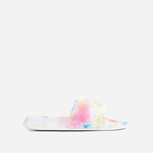 Skyline Flat Slider Sandal In Multi Colour Tie Dye Rubber