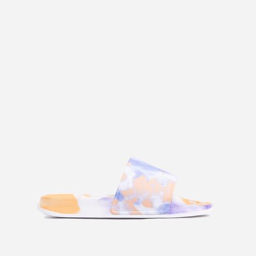 Skyline Flat Slider Sandal In Purple Tie Dye Rubber
