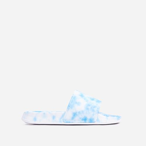 Skyline Flat Slider Sandal In Blue Tie Dye Rubber
