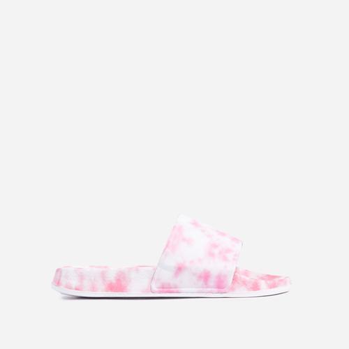 Skyline Flat Slider Sandal In Pink Tie Dye Rubber