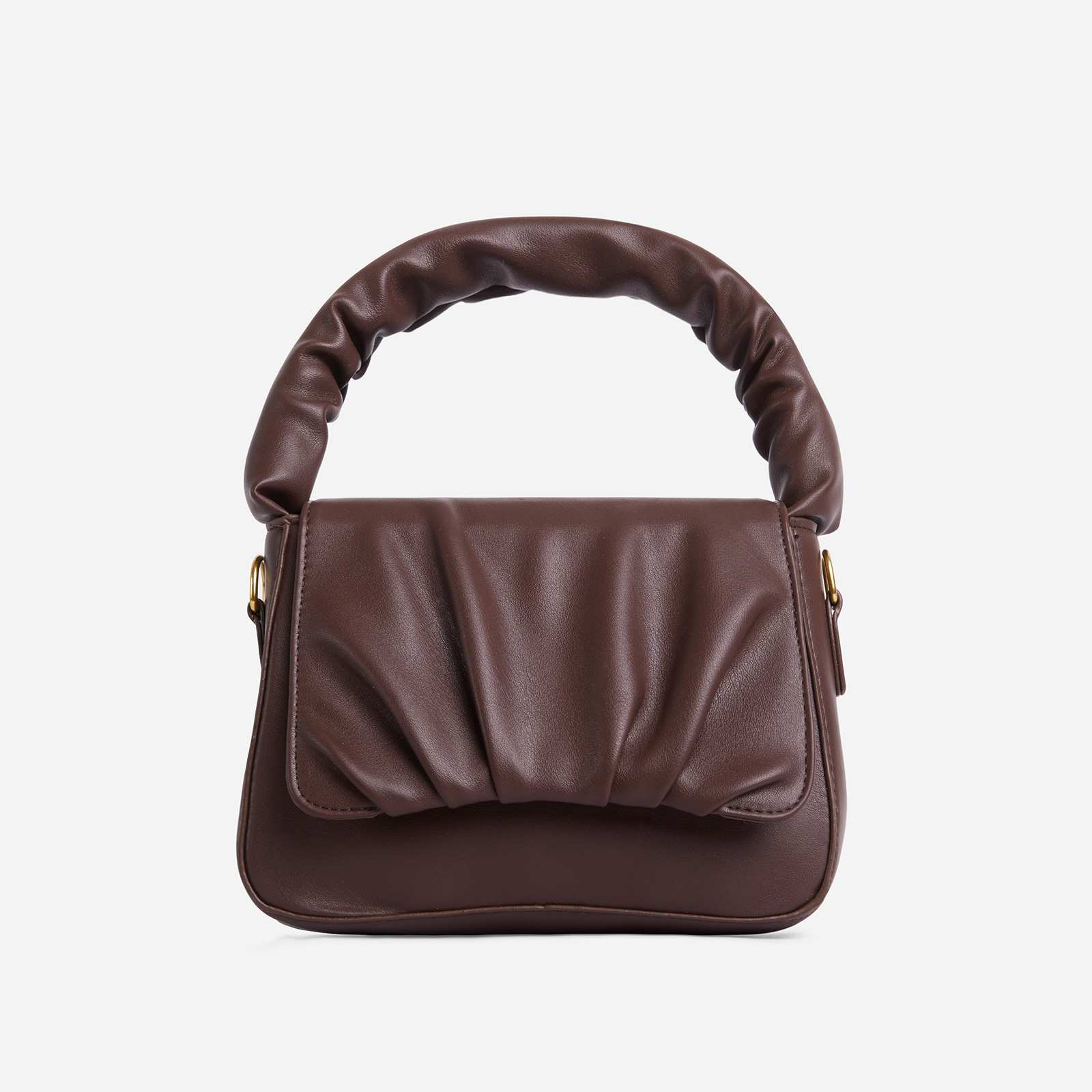 Corra Ruched Detail Grab Bag In Dark Brown Faux Leather