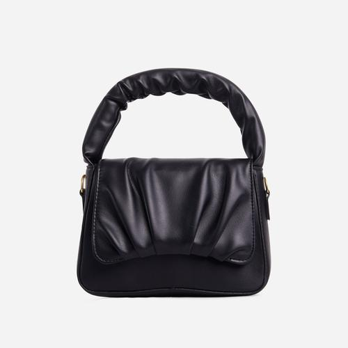 Corra Ruched Detail Grab Bag In Black Faux Leather