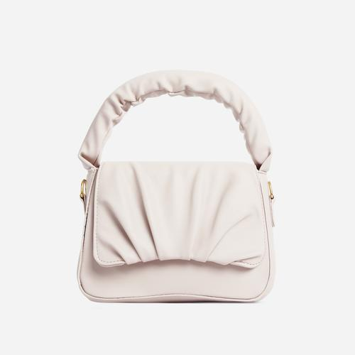 Corra Ruched Detail Grab Bag In White Faux Leather