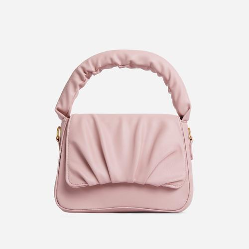 Corra Ruched Detail Grab Bag In Nude Faux Leather