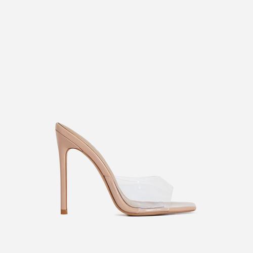 Cyan Square Toe Clear Perspex Peep Toe Heel Mule In Nude Patent