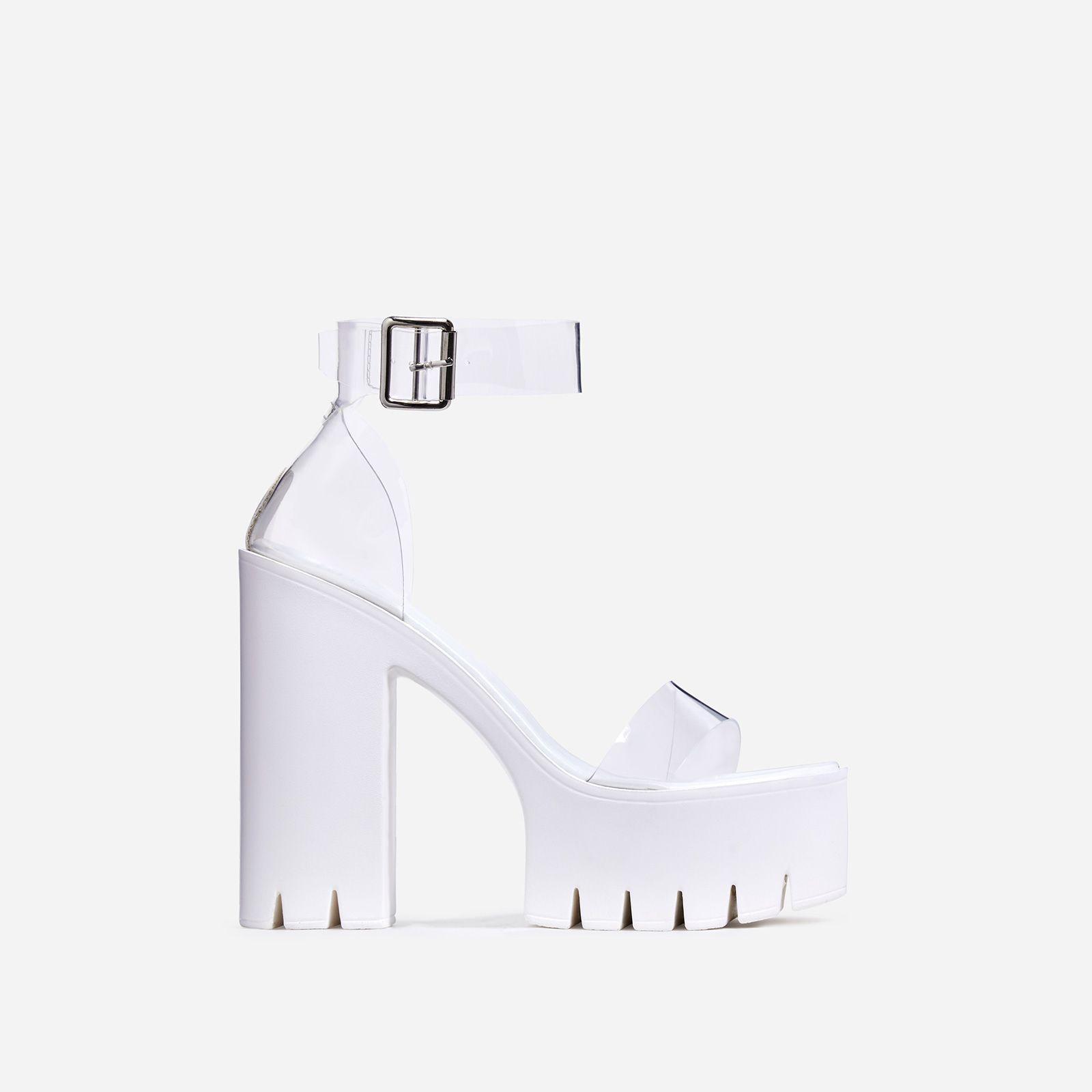 Block Heel Cleated Sole Platform