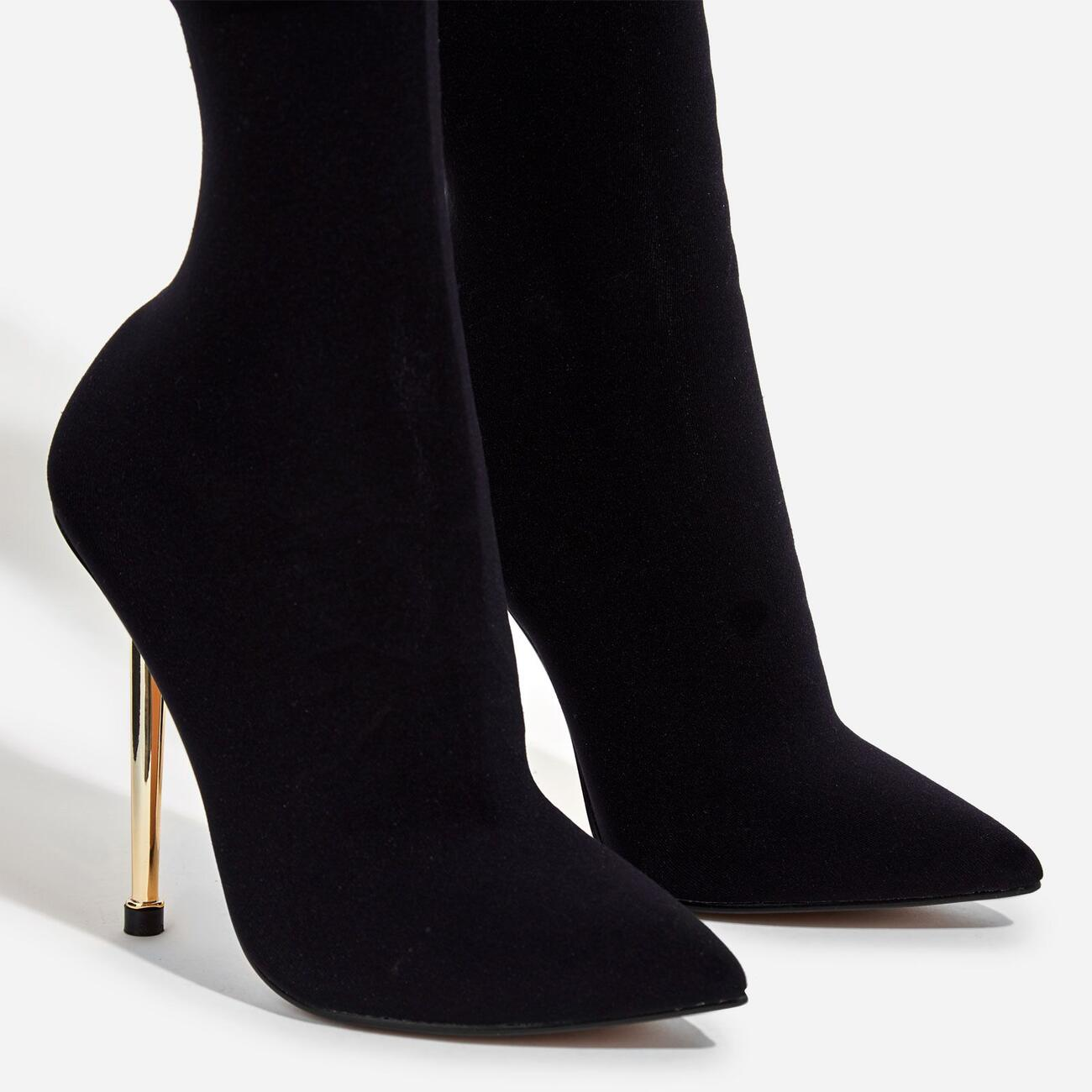Jade Ankle Sock Boot In Black Knit Image 3
