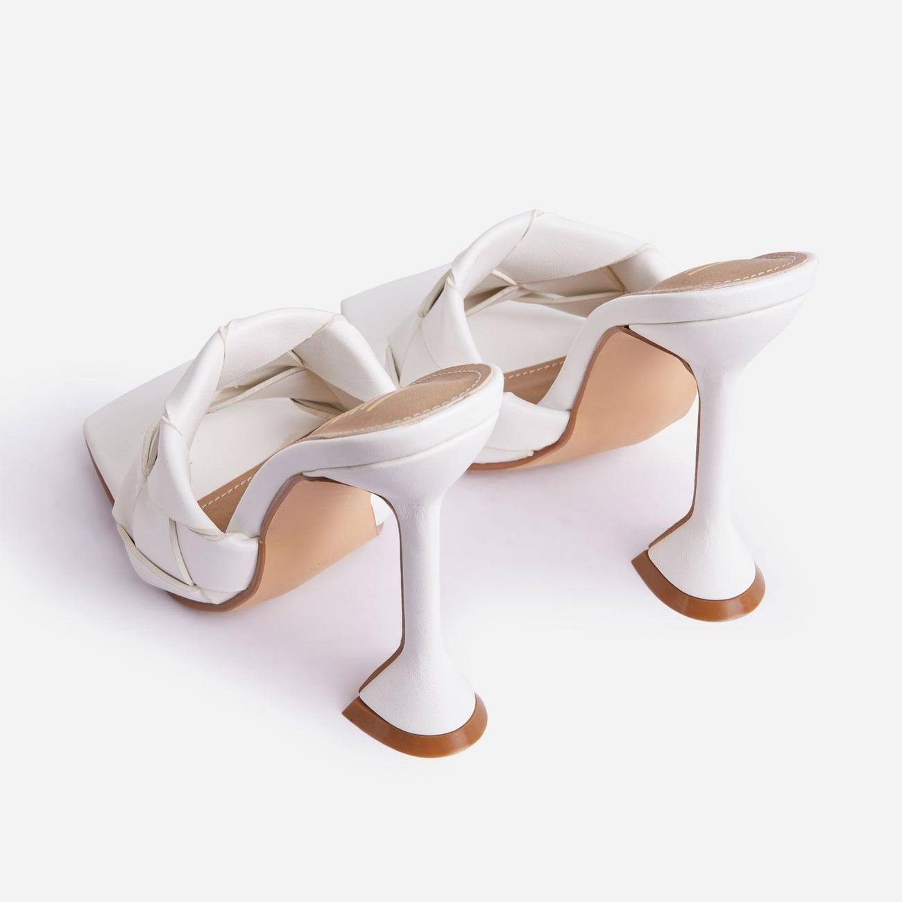 Handled Woven Square Peep Toe Pyramid Heel Mule In White Faux Leather Image 3